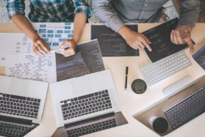 Team of WordPress developers analyzing new project