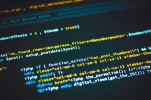 Custom WordPress theme code displayed on a screen