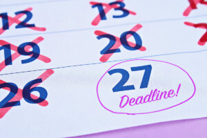 Deadline marked on a calendar